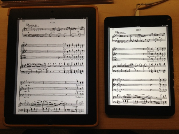 iPad and iPad mini with sheet music