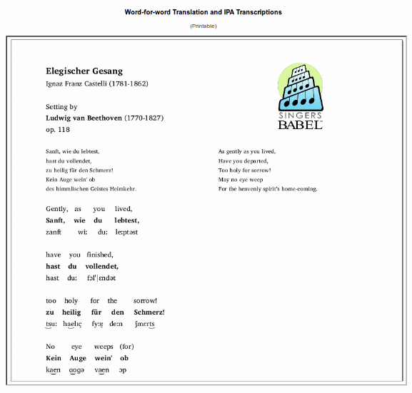 Text, IPA transcription, and translation at SingersBabel website